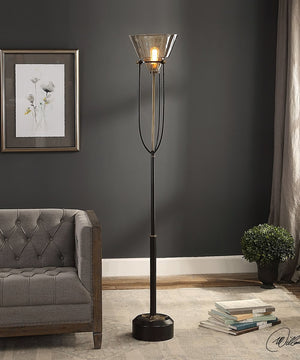 "72""H Amaleeda Amber Glass Floor Lamp"