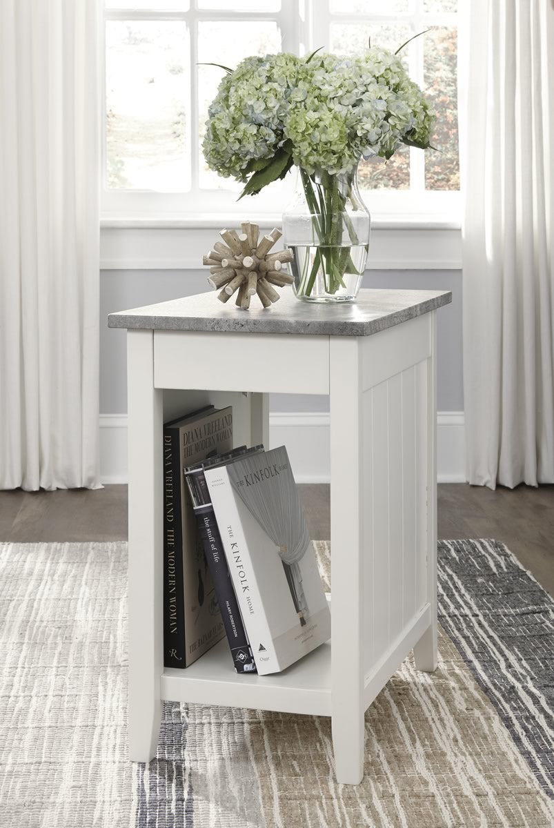 "24""H Diamenton Chair Side End Table White"