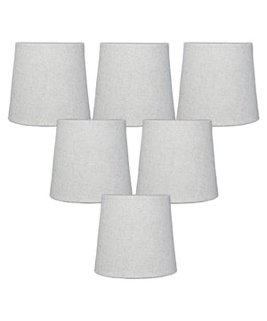 "6""W x 5""H Set of 6 Sand Linen Drum Chandelier Clip-On Lampshade"