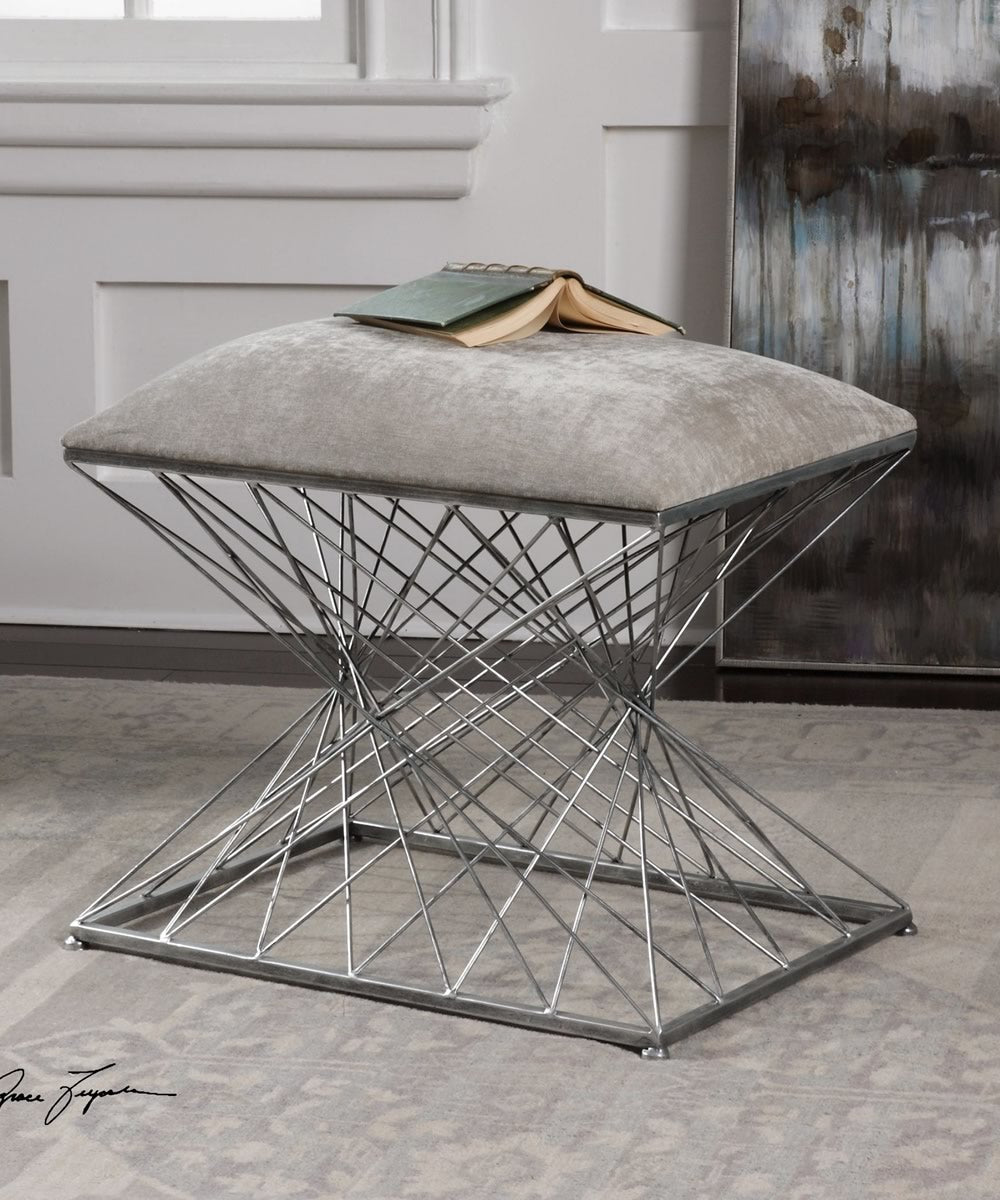 "20""H Zelia Silver Accent Stool"