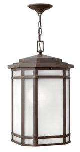 Cherry Creek 1-Light Outdoor Hanging Light in Oil Rubbed Bronze with White