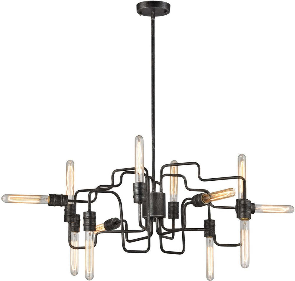 "29""W Transit 12-Light Chandelier Silvered Graphite"