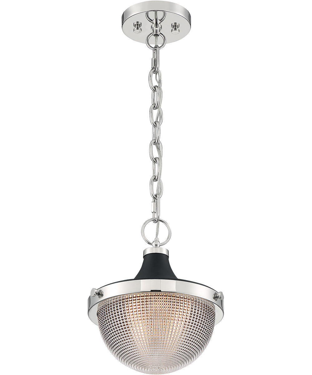 Faro 1-Light Pendant Polished Nickel / Black Accents