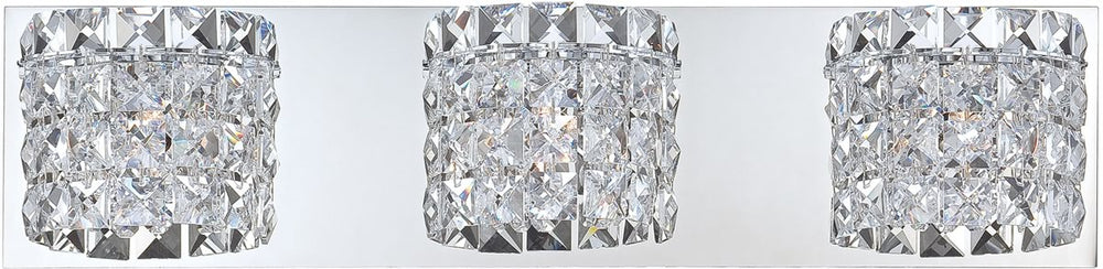"21""W Rondell 3-Light Vanity Chrome/Clear Crystal Glass"