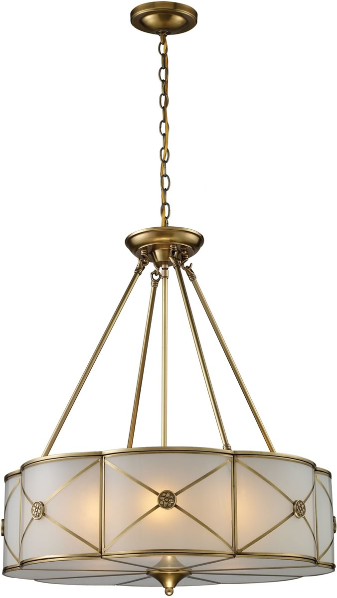 "23""W Preston 6-Light Pendant Brushed Brass"