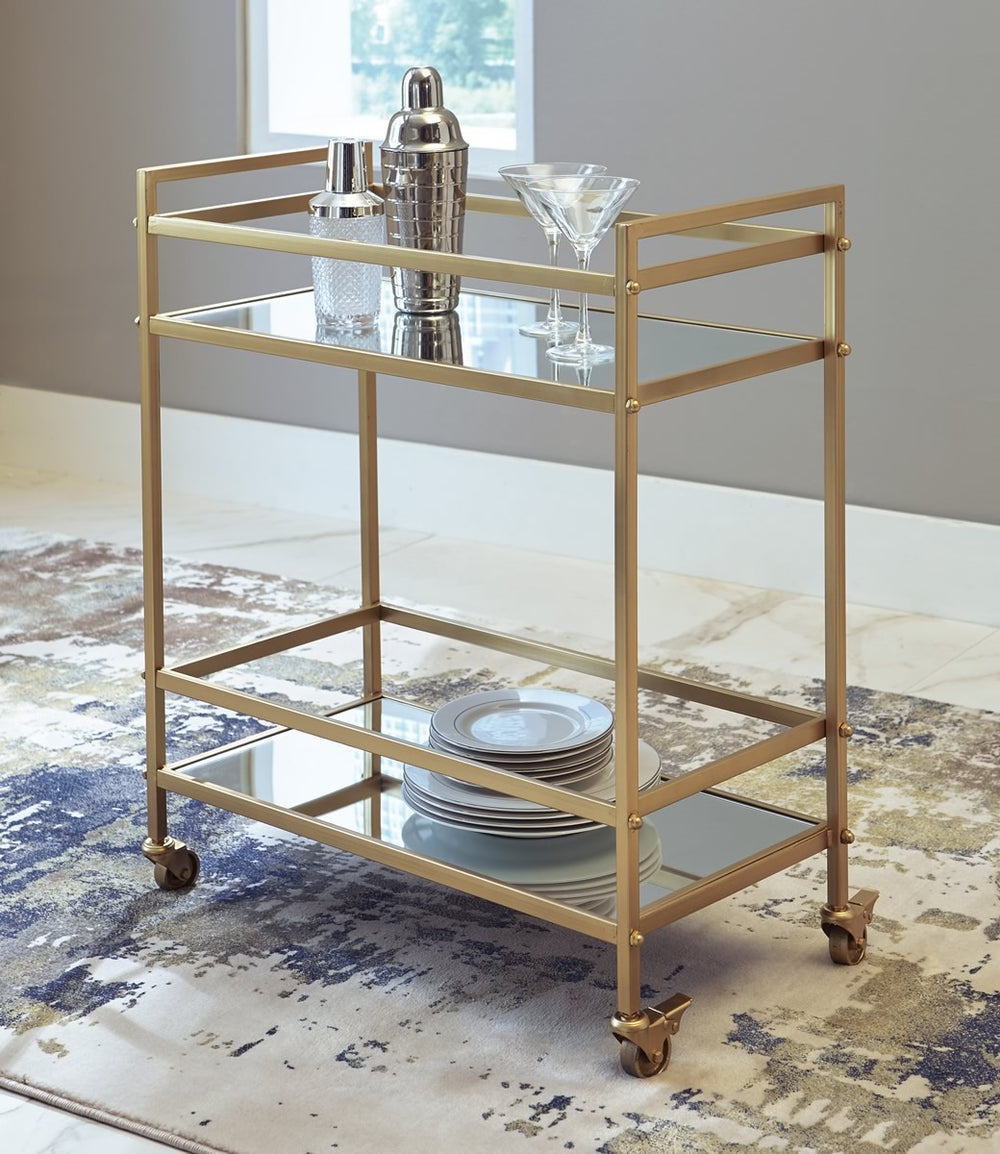 "32""H Kailman Bar Cart Gold"