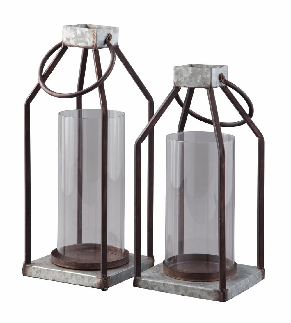 Diedrick Lantern Set (Set of 2) Gray/Black