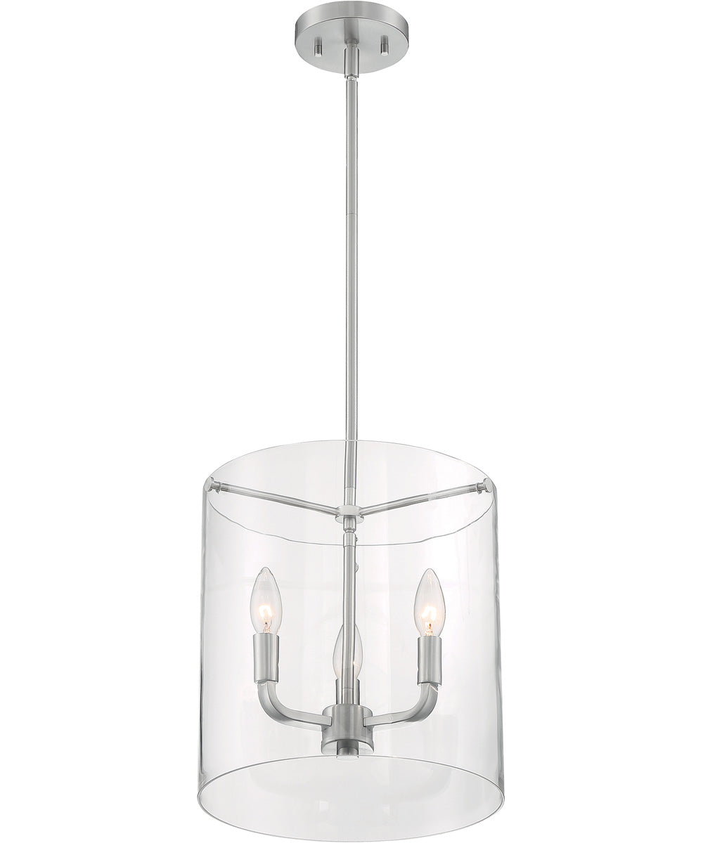 "12""W Sommerset 3-Light Pendant Brushed Nickel"