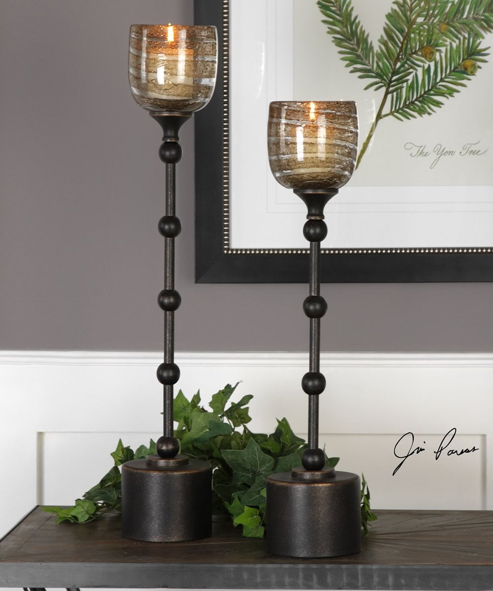 "25""H Lula Oil Rubbed Bronze Candleholders Set of 2"