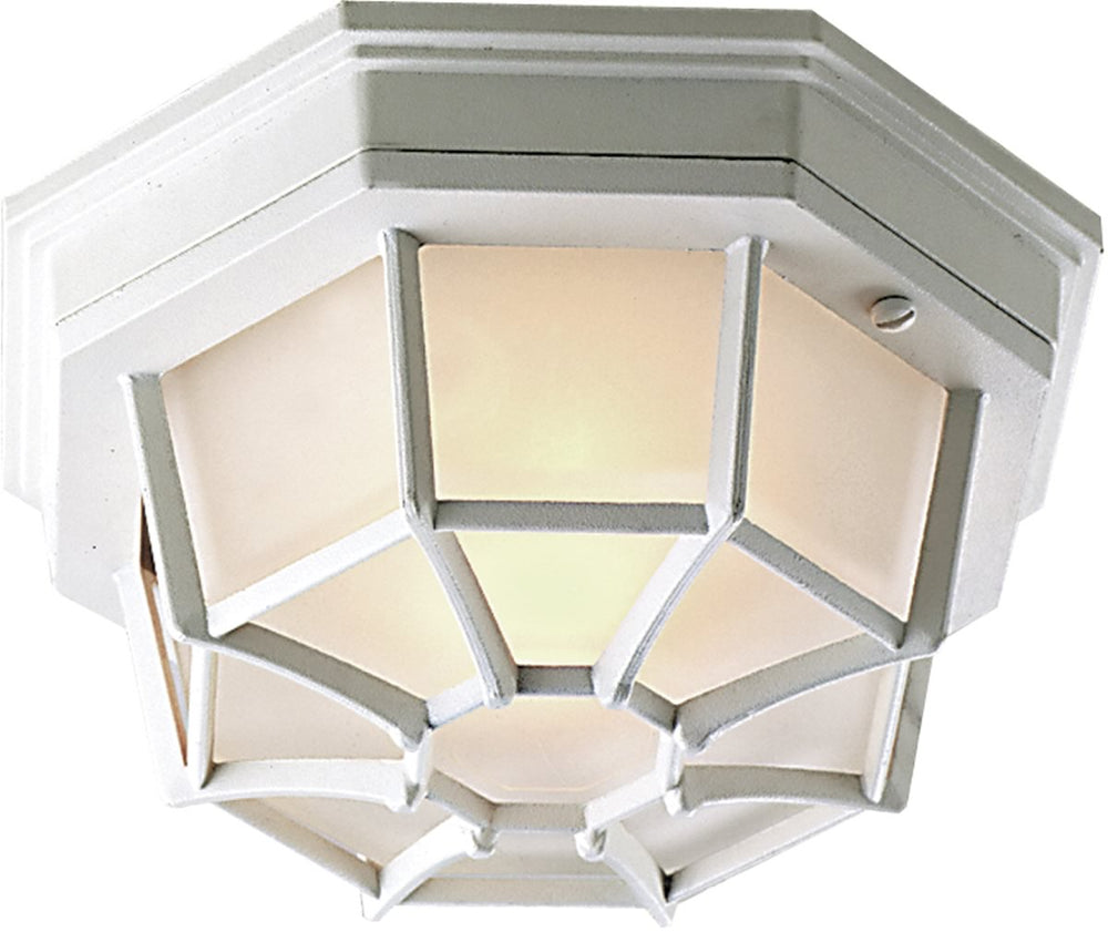 "11""W Bulkhead 1-Light Outdoor Flush Mount Matte White"
