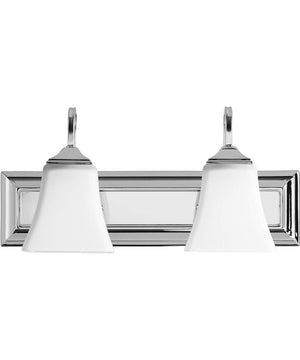 "18""W 2-light Bath Vanity Light Polished Nickel w/ Satin Opal"