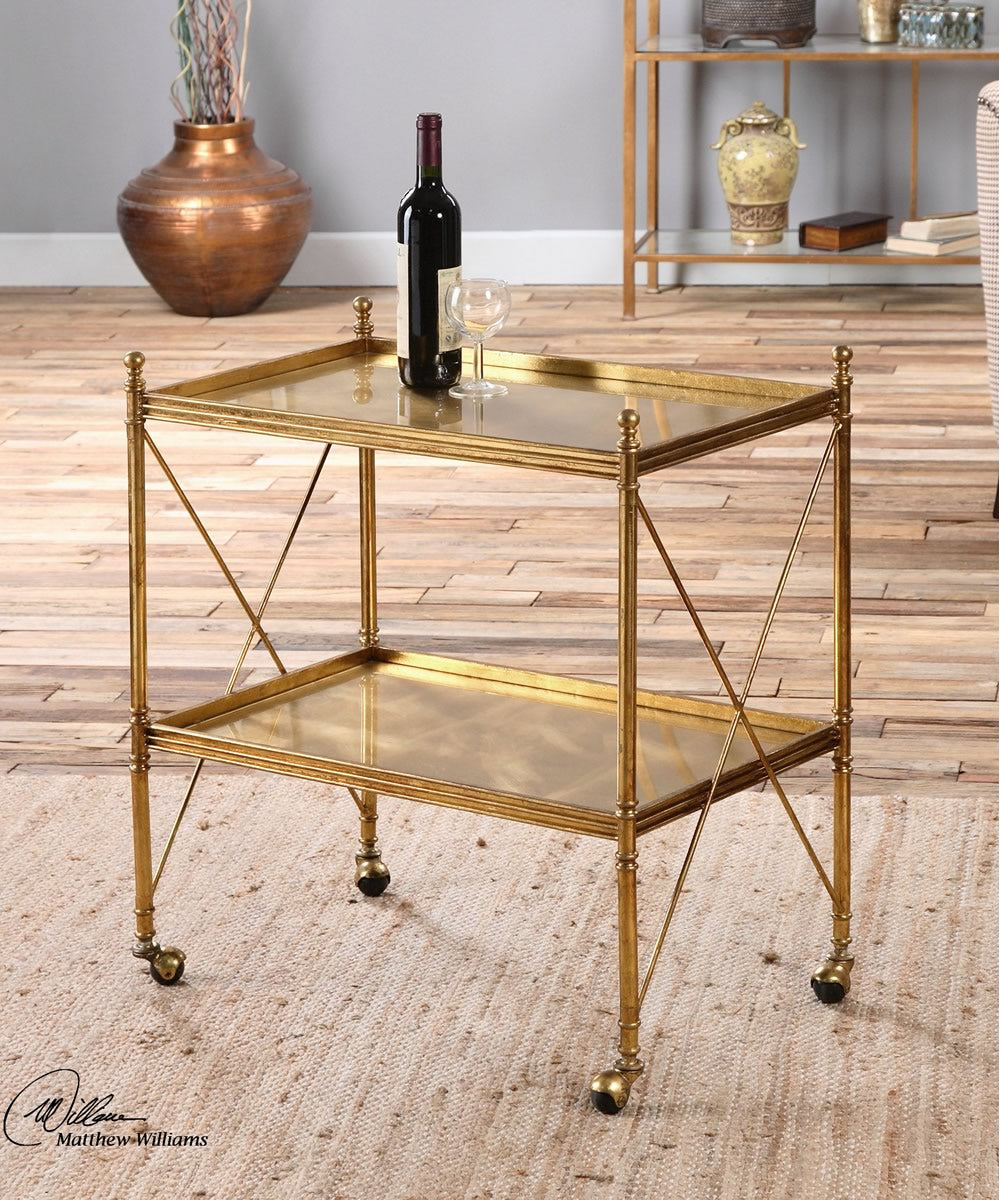 "30""H Amaranto Gold Serving Cart"