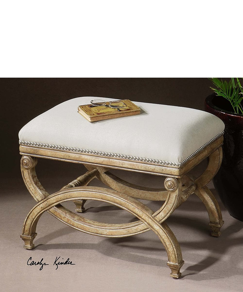 "19""H Karline Natural Linen Small Bench"