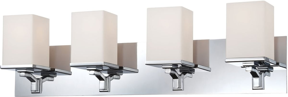 "28""W Ramp 4-Light Vanity Chrome/White Opal Glass"