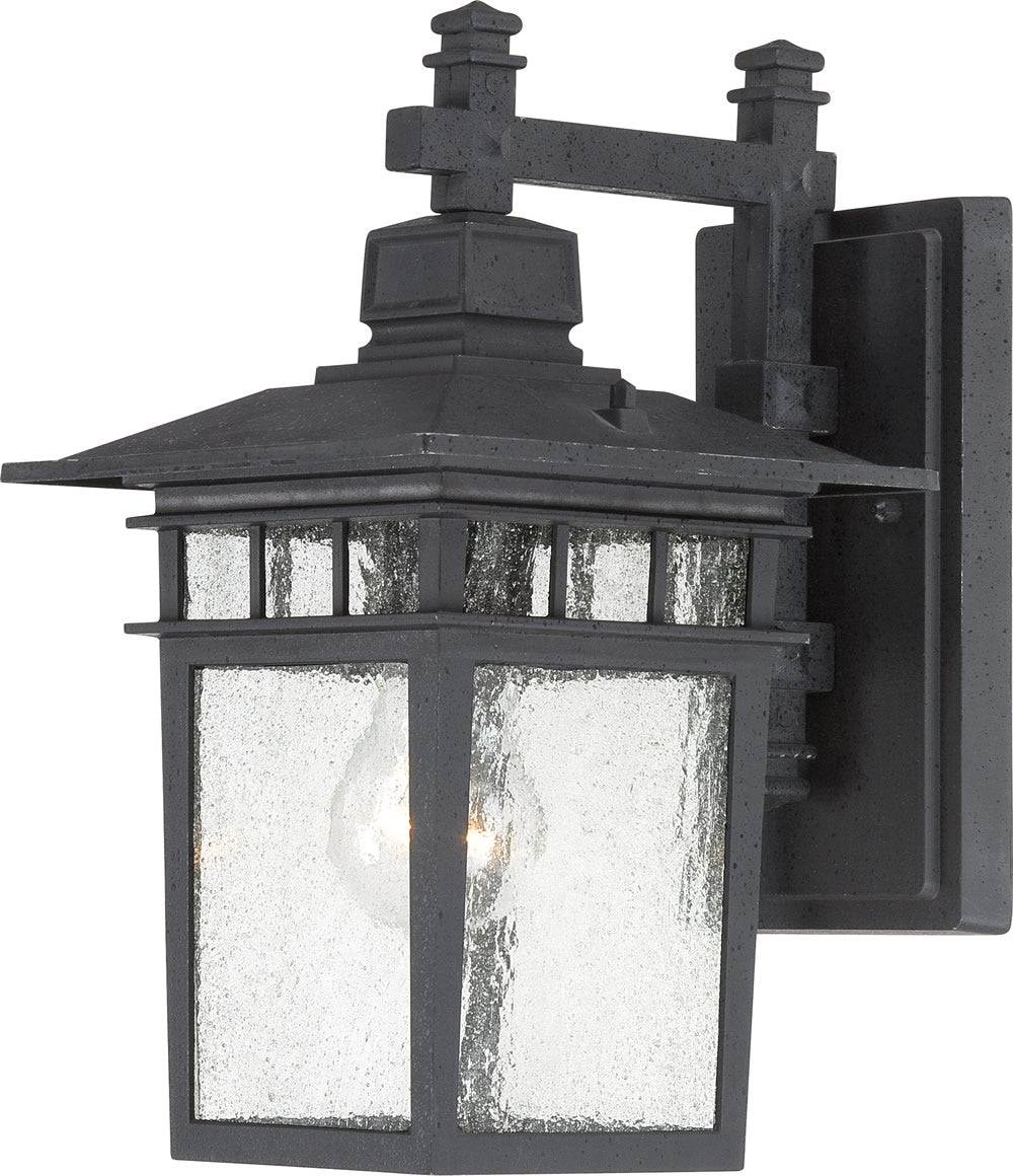 "12""H Cove Neck 1-Light Outdoor Textured Black"