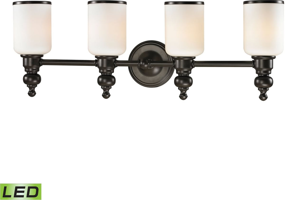 "29""W Bristol Way 4-Light LED Vanity Oil Rubbed Bronze/Opal White Glass"