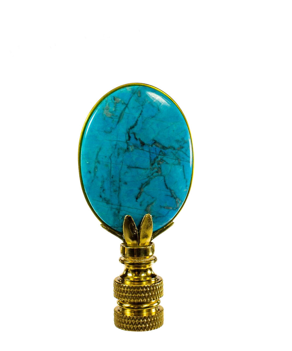 "3""H Light Blue Lapis Oval Finial"