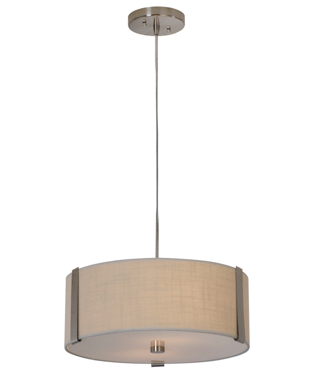 "16""W Butler 2-Light Medium Drum Pendant in Brushed Nickel with Coarse Cream Finish TP7567 by Trend Lighting"