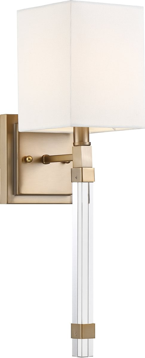 "5""W Tompson 1-Light Vanity & Wall Burnished Brass / White"