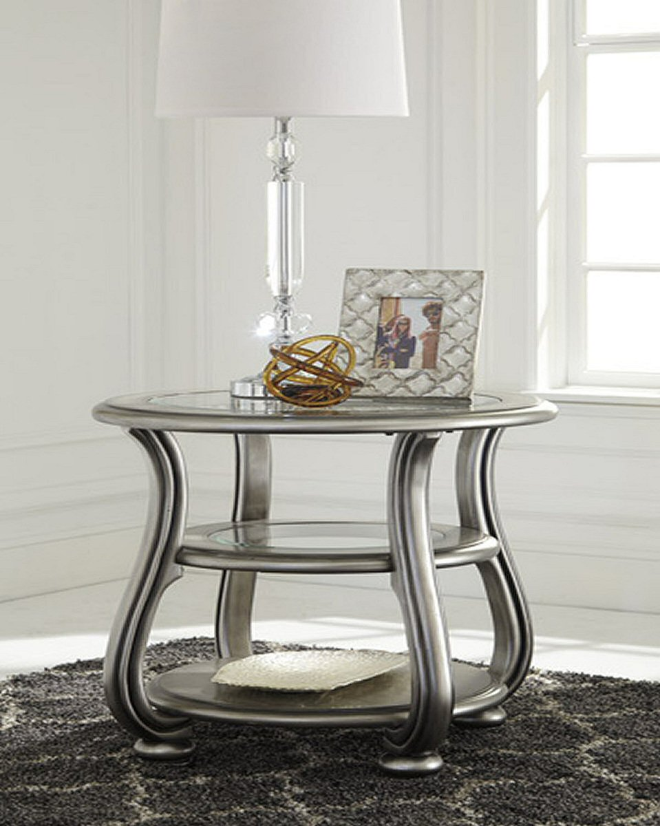 "26""H Coralayne Round End Table Silver"