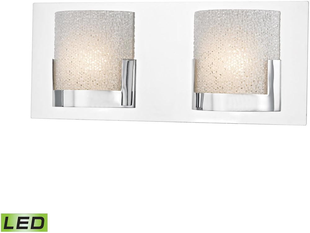 "15""W Ophelia 2-Light LED Vanity Chrome/Clear Glass"