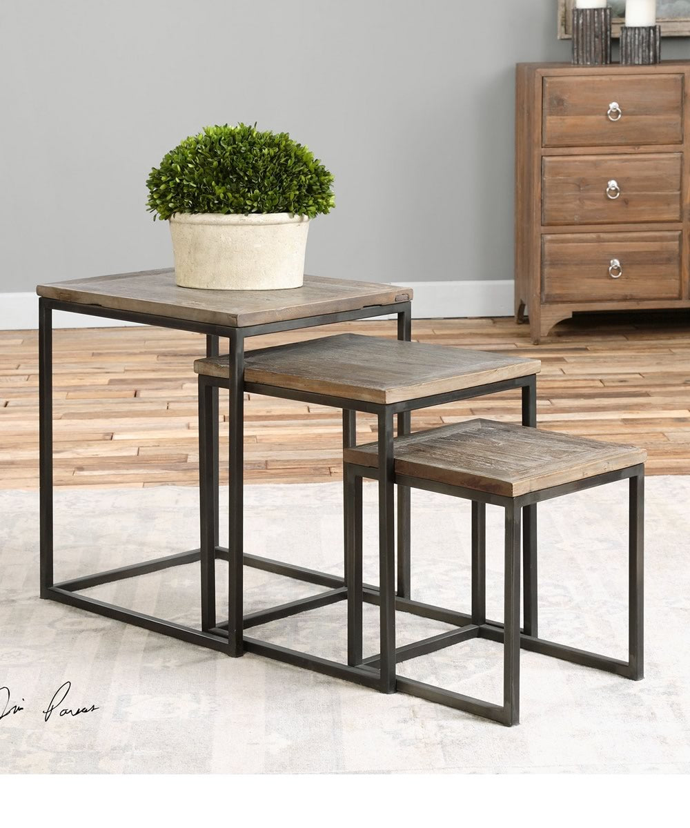 "24""H Bomani Wood Nesting Tables Set of 3"