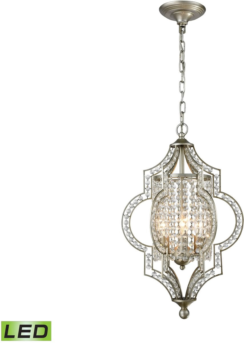 "14""W Gabrielle 3-Light LED Chandelier Aged Silver"