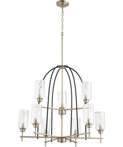 Espy 9-light Chandelier Noir w/ Aged Brass