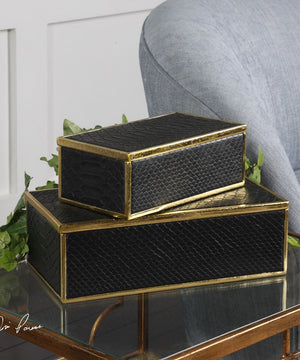 "4""H Ukti Alligator Patterned Boxes Set of 2"