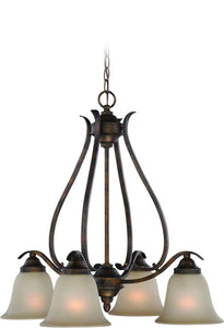 0-012120>McKinney 4-Light Down Chandelier Burleson Bronze