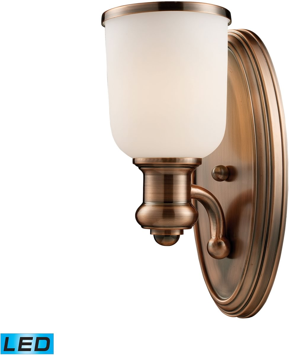 "5""W Brooksdale 1-Light LED Wall Sconce Antique Copper/White Glass"