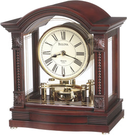 Bulova Clocks Bardwell Chiming Mantel Clock Antique Walnut B1987