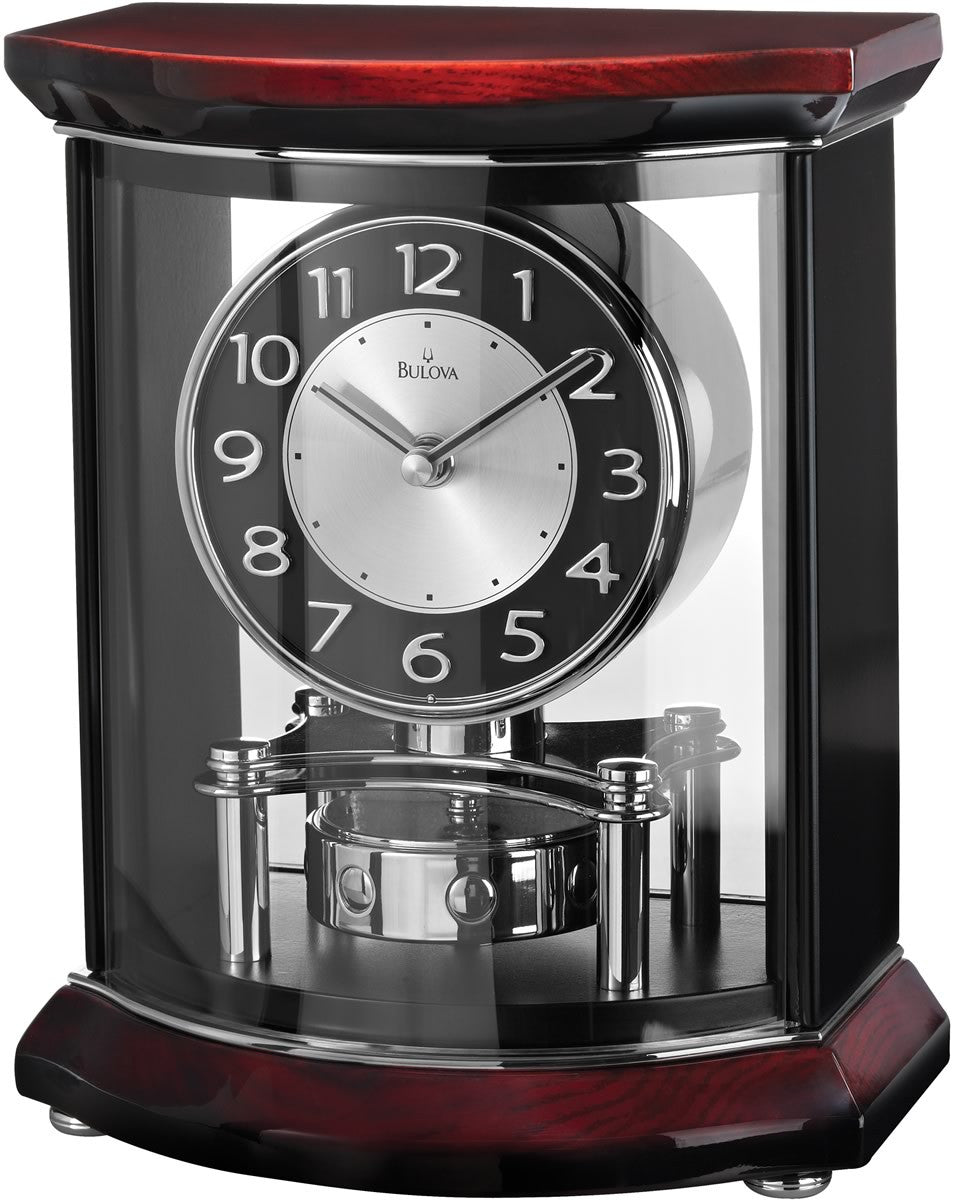 Gentry Mantel Clock High Gloss Piano over Mahogany Stain