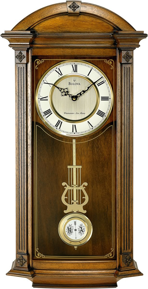Bulova Clocks Hartwick Chiming Wall Clock Old World Walnut C4331