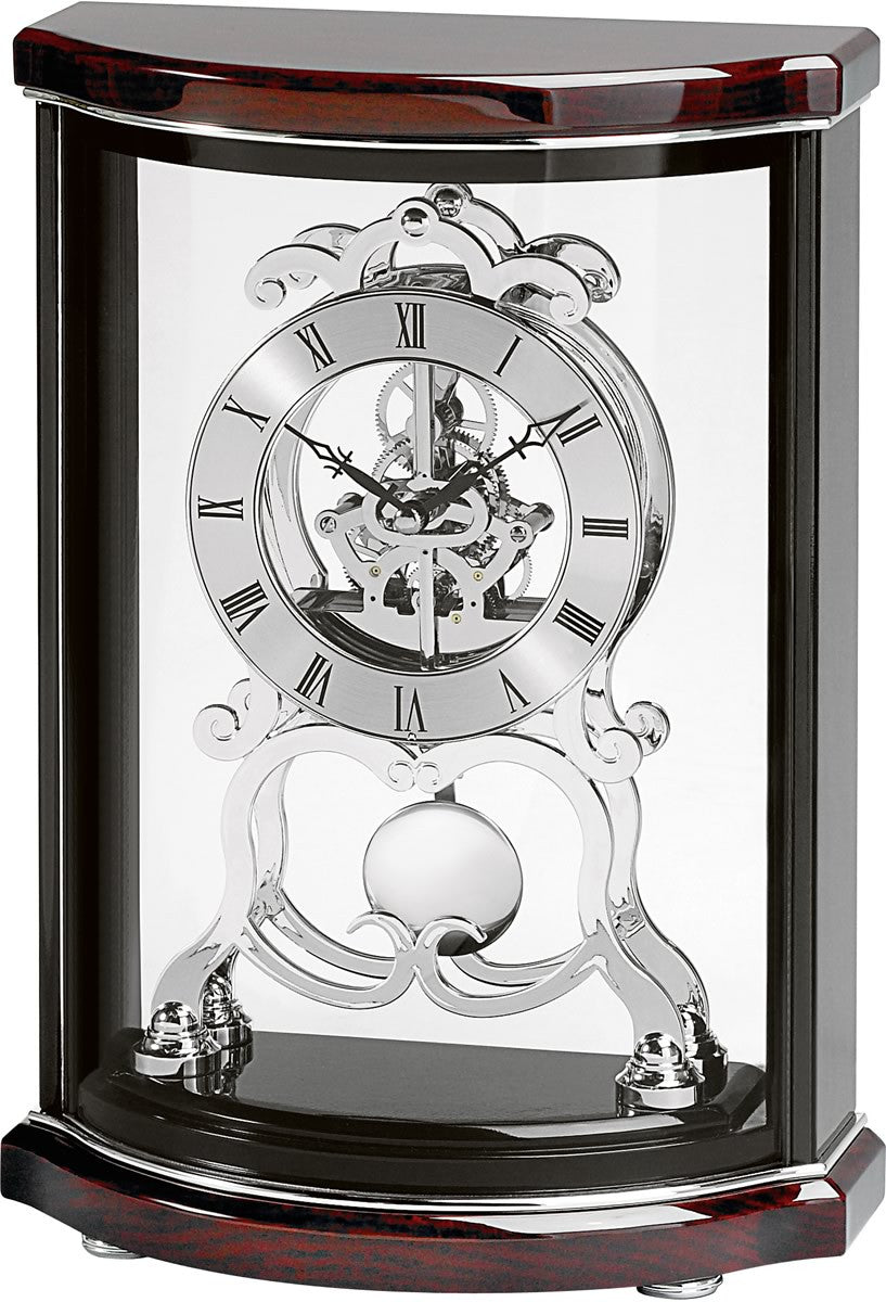 "12""H Valeria Mantel Clock High Gloss Black and Mahogany"