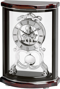 "15""h Valeria Mantel Clock High Gloss Black and Mahogany"