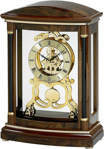 Bulova Clocks Valeria Mantel Clock High Gloss over Burl Veneer and Walnut Stain B2026