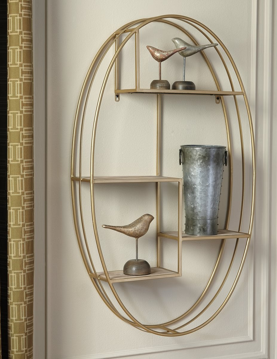 "40""H Elettra Wall Shelf Natural/Gold"