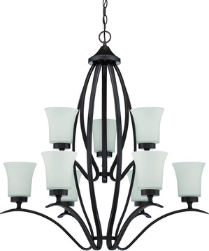 "32""W Northlake 9-Light Chandelier Aged Bronze Brushed"