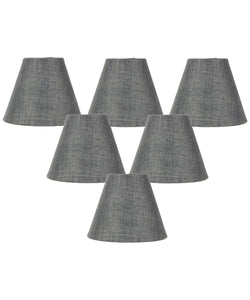 "5""W x 4""H Set of 6 Granite Gray Burlap Lamp Shade - Clip-on Candelabra Shade"