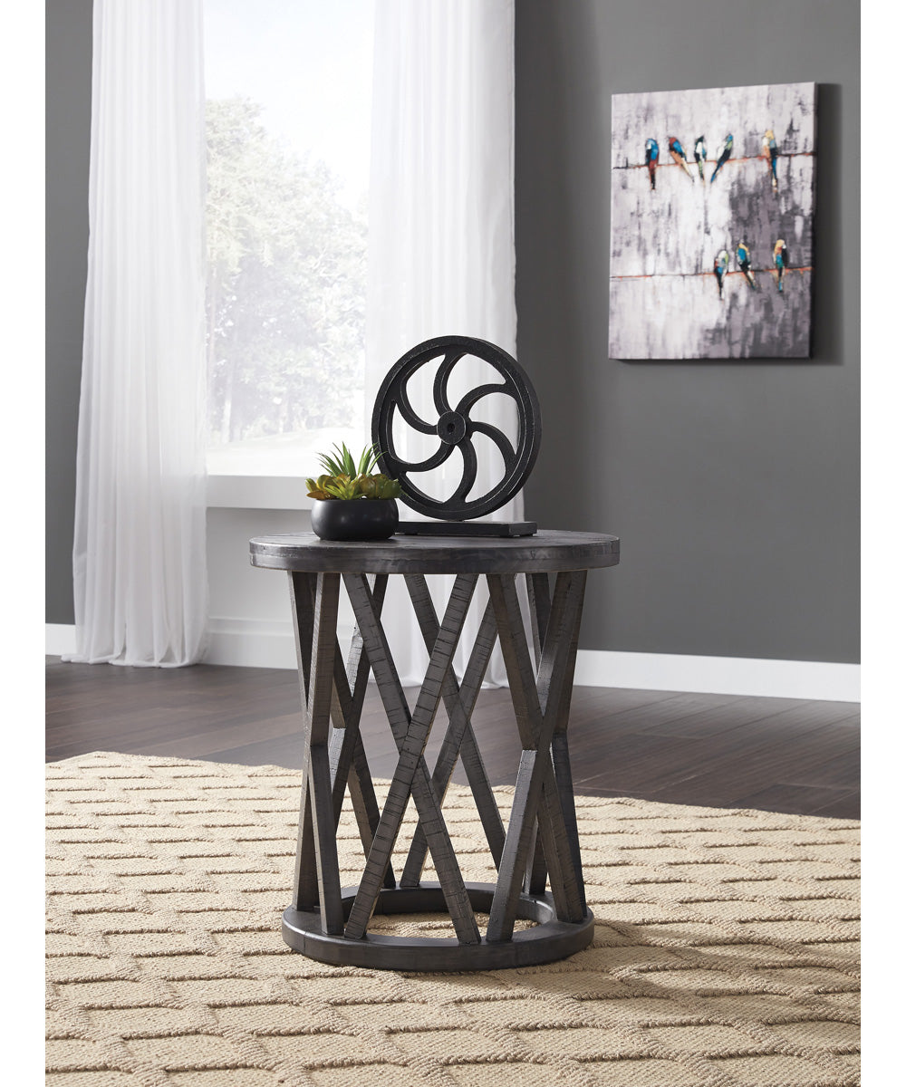 "24""H Sharzane Round End Table Grayish Brown"