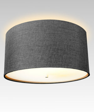 "14""W Moderne Flush Mount Conversion Kit  Granite Gray Burlap Hardback Drum Lampshade"