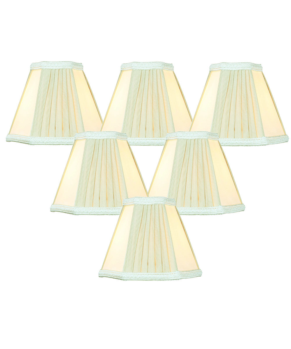 "5""W x 5""H Set of 6 Egg Shell Beige Chandelier Clip-On Lampshade"