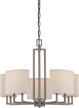 "25""W Gemini 5-Light Chandelier Hazel Bronze"