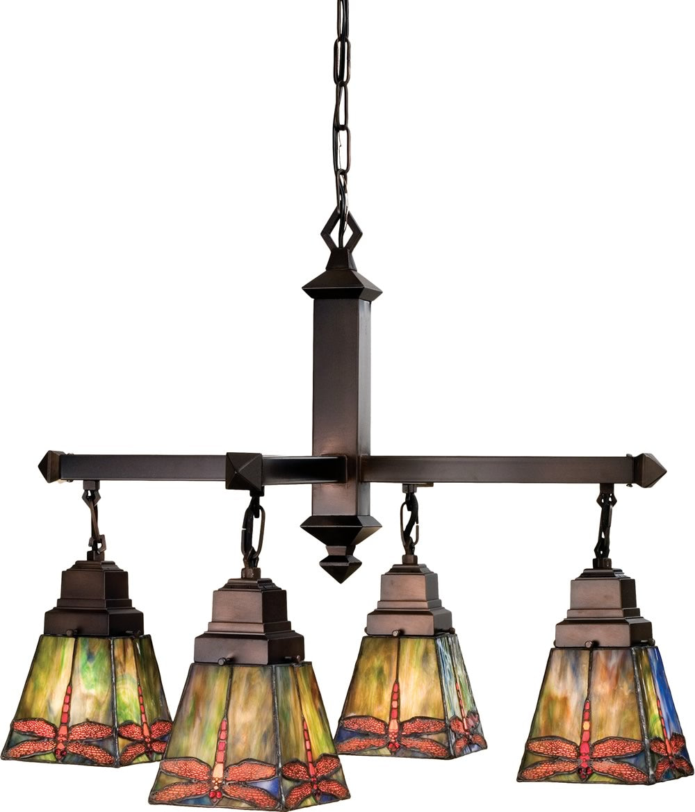 "26""W Prairie Dragonfly 4 Light Chandelier.609"