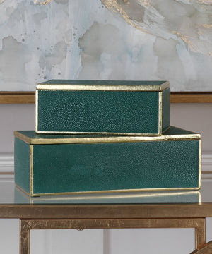 "5""H Karis Emerald Green Boxes Set of 2"