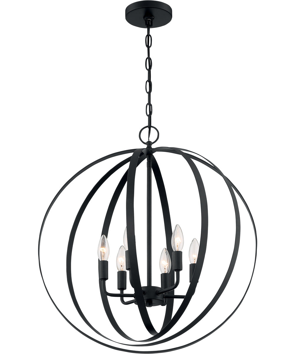"22""W Pendleton 6-Light Pendant Matte Black"