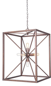 0-010275>Pendant 6-Light Pendant Light w/Chain Peruvian Bronze