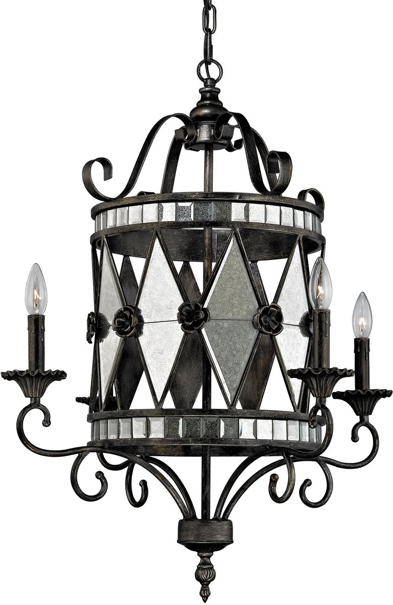 "26""W Mariana 4-Light Chandelier Blackened Silver"