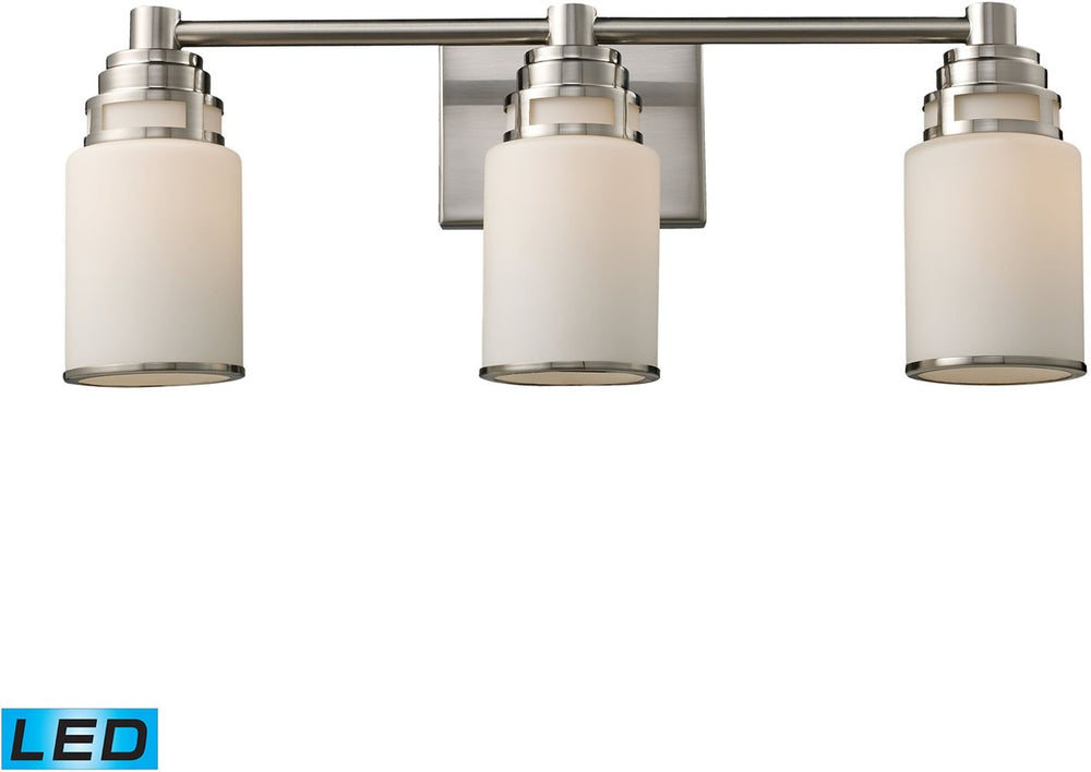 "23""W Bryant 3-Light LED Vanity Satin Nickel/Opal White Glass"